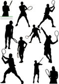 Big collection of tennis player silhouettes. Vector illustration — Stock Vector
