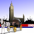 Vintage carriage and horse on London background. — Stock Vector #34949929