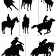 Horse riders silhouettes. Vector illustration — Stock Vector #34949973