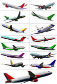 Big collection of airplane on the air. — Stock Vector