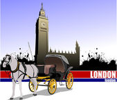 Vintage carriage and horse on London background. — Stock Vector