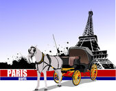 Vintage carriage and horse on Paris background — Vector de stock