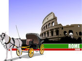 Vintage carriage and horse on Rome background. — Stock Vector