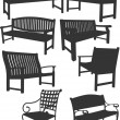 Collection of garden chairs and benches silhouettes — Stock Vector #34950299