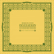 Green ornament frame invitation card — Stock Vector