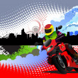 Motorcycle image on town panorama — Stock Vector