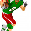 Stock Vector: American football player in action.