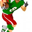 American football player in action. — Stock Vector