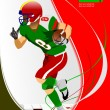 American football player in action. — Stock Vector #34950697