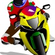 Stock Vector: Motorcycle on the road. Biker. Vector illustration