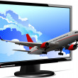 Computer monitor with plane image.  — Stock Vector