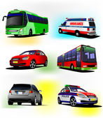 Set of municipal transport images — Stock Vector