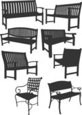 Collection of garden chairs and benches silhouettes — Stock Vector