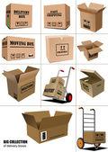 Carton packaging boxes. — Stock Vector