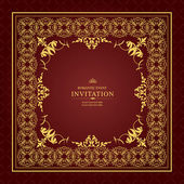 Gold ornament frame invitation card — Stock Vector