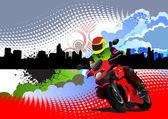 Motorcycle image on town panorama — ストックベクタ