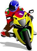 Motorcycle on the road. Biker. Vector illustration — Stock Vector