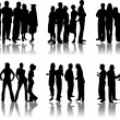 Stock Vector: People crowd silhouettes