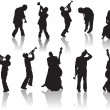 Jazz People silhouettes — Vettoriale Stock #34982495