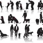 人間と犬と女性 — ストックベクタ #34982521