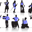 Orchestra people silhouettes — Stock Vector