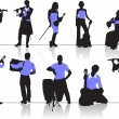 Orchestra people silhouettes — Stock Vector #34982691