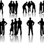 People trio silhouettes — Vettoriale Stock