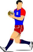 Sagoma di giocatore di rugby. — Vettoriale Stock