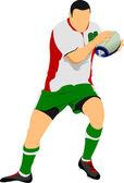 Rugby player siluett. — Stockvektor