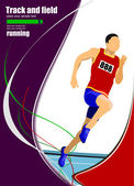 Track and field man athlete running — Stock Vector