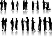 People silhouettes conversations — Stock Vector