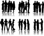 People crowd silhouettes — Stock Vector