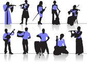 Sylwetki ludzi orkiestra — Wektor stockowy