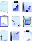 Set with nine office icon — Vector de stock