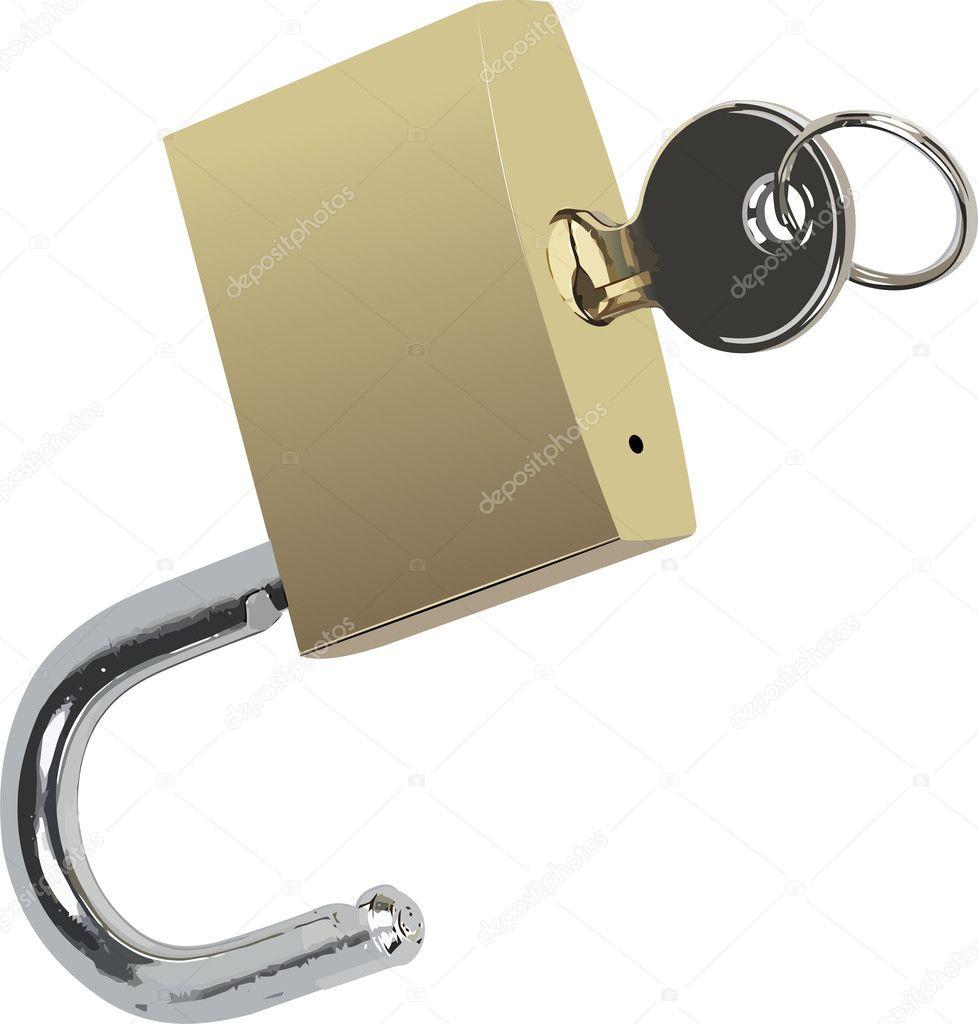 与键的青铜锁.矢量插画
