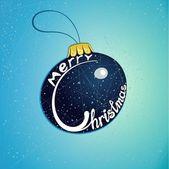 Feliz navidad de los juguetes del árbol de navidad azul — Vector de stock