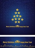 New Year and Christmas background with a gold tree stars — Stock Vector
