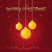 黄色のガラスのボールと赤のクリスマスの背景 — ストックベクタ