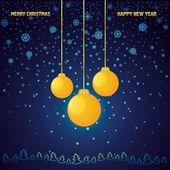 蓝色与黄色玻璃球圣诞背景 — 图库矢量图片