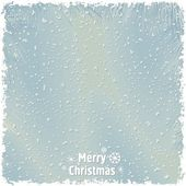 Just realistic beautiful snow on a blue background with text — Stock Vector