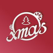 Stylized white lettering xmas with 3D effect — Stock Vector