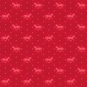 Happy new year red horse seamless pattern — Stock Vector
