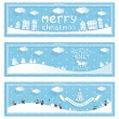 Stock Vector: Three happy new year and christmas vector banner