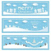 Three happy new year and christmas vector banner — Stock Vector