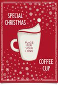 Joke Christmas poster with stylized coffee cup — Stock Vector