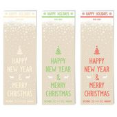 Three retro flyers on old paper for new year — Stock Vector