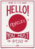 Retro new year poster with a cheerful greeting — Vetorial Stock