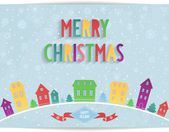 Merry Christmas card with colored lettering design — Stock Vector