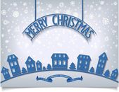 Merry Christmas card with blue signboard lettering design — Stock Vector