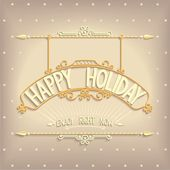 Holiday greeting design decoration signboard — Stock Vector